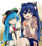 2girls :d bangle black_hat blouse blue_bow blue_eyes blue_hair blue_skirt blush bow bracelet closed_eyes collarbone commentary_request debt eyebrows_visible_through_hair facing_another food frilled_blouse fruit gradient gradient_background grey_hoodie grin hair_between_eyes hair_bow hat hinanawi_tenshi holding holding_fruit hood hoodie jewelry leaf long_hair multiple_girls neck_bow open_mouth peach puffy_short_sleeves puffy_sleeves red_bow red_neckwear short_sleeves skirt smile touhou two-tone_background tyouseki v_arms very_long_hair white_background white_blouse yellow_background yorigami_shion
