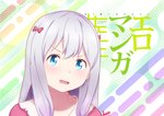 1girl angry blue_eyes bow clenched_teeth commentary_request eromanga_sensei highres izumi_sagiri long_hair looking_at_viewer moemaru pink_bow silver_hair solo teeth v-shaped_eyebrows