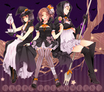 3girls ahoge alternate_costume alternate_hair_color alternate_hairstyle arm_up axis_powers_hetalia bandages bangs bat black_eyes black_hair black_legwear blonde_hair blue_eyes blunt_bangs blush boots bow branch brown_eyes brown_hair candy cloak cross-laced_footwear cup dress elbow_gloves english_text food food_themed_hair_ornament frilled_dress frilled_skirt frills genderswap genderswap_(mtf) germany_(hetalia) gloves hair_bow hair_intakes hair_ornament halloween happy happy_halloween hat hat_ribbon high_heels hood japan_(hetalia) kneehighs knees_touching leg_wrap lips lipstick lollipop long_dress looking_at_viewer makeup miniskirt multiple_girls northern_italy_(hetalia) nwtm open_mouth outline parted_bangs ponytail pouring puffy_sleeves pumpkin pumpkin_hair_ornament ribbon saucer shaded_face shoe_ribbon shoes short_hair short_sleeves side_ponytail silhouette sitting skirt sleeveless spork star striped striped_legwear swirl_lollipop tea teacup teapot teeth text_focus thigh_boots thighhighs vertical-striped_legwear vertical_stripes wavy_hair witch witch_hat wristband zettai_ryouiki