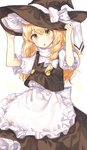 1girl :o adjusting_clothes adjusting_hat apron black_skirt black_vest blonde_hair blush bow braid cheunes commentary double-breasted eyebrows_visible_through_hair frilled_apron frilled_sleeves frills hair_bow hat hat_bow kirisame_marisa long_hair long_skirt open_mouth puffy_short_sleeves puffy_sleeves shirt short_sleeves side_braid skirt skirt_set solo touhou very_long_hair vest white_apron white_background white_bow white_shirt witch_hat yellow_eyes