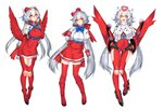 3girls beret boots bowtie dress full_body gloves golden_eyes hat high_heels katagiri_hachigou latias long_hair looking_at_viewer mechanical_wings mega_latias miniskirt multiple_girls personification pokemon pokemon_(game) red_boots red_dress red_legwear red_wings silver_hair skirt thighhighs very_long_hair white_background wings zettai_ryouiki