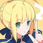 2 ahoge blonde_hair braid countdown fate/stay_night fate_(series) green_eyes gum_(gmng) looking_at_viewer lowres saber solo yellow_background