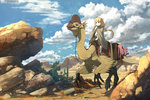 1girl alternate_costume anachronism anime_coloring beak blonde_hair blush cactus cape capri_pants claws cloud commentary day desert dinosaur fantasy futaba_anzu hand_up idolmaster idolmaster_cinderella_girls kamemaru long_hair pants reins riding rock saddle sandals scenery serious sky stuffed_animal stuffed_bunny stuffed_toy twintails