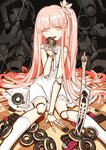 1girl bangs chocolate commentary_request doll_joints doughnut dress food hair_ornament halloween knife long_hair noah_fantasy open_mouth pink_eyes pink_hair puppet seeker sitting string very_long_hair white_dress white_legwear yandere