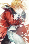 1boy 91_(968087) bad_id blonde_hair braid coat edward_elric electricity fullmetal_alchemist hands_together long_hair male_focus mechanical_arm red_coat solo yellow_eyes