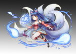 1girl ahri animal_ears bare_shoulders blue_hair breasts cleavage detached_sleeves fox_ears fox_tail highres league_of_legends long_hair looking_at_viewer multiple_tails puzzle_&_dragons smile solo tail tamashii_yuu whiskers yellow_eyes