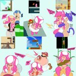 1girl ? absurdres alternate_costume animal_ears ass ass_grab bikini breasts buttjob captain_kirb cat_ears cat_tail cleavage clothed_sex collage cum cum_in_mouth deep_penetration ejaculation english_text fellatio fucked_silly hetero highres kemonomimi_mode large_breasts large_penis mario mario_(series) meowing oral paizuri penis perpendicular_paizuri projectile_cum pussy reverse_suspended_congress sex solo_focus source_request super_mario_maker super_mario_maker_2 swimsuit tail thigh_sex thighhighs toad toadette top-down_bottom-up uncensored vaginal