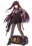 1girl absurdres armband bag bangs bipod black_footwear black_gloves black_legwear black_skirt blazer blunt_bangs blush boots braid breasts brown_hair buckle bullpup buttons closed_mouth collared_shirt dated double-breasted embarrassed eyebrows_visible_through_hair floating_hair framed_breasts french_braid full_body girls_frontline gloves gun hair_between_eyes hair_ribbon half_updo hand_on_hip high-waist_skirt high_heel_boots high_heels highres holding jacket large_breasts long_hair long_sleeves looking_at_viewer multiple_straps necktie one_side_up pantyhose purple_hair purple_shirt red_eyes red_neckwear ribbon rifle shirt shoe_strap shoes sidelocks signature simple_background skirt sniper_rifle solo sports_bag standing strap thigh_strap thighband_pantyhose thighs trigger_discipline tsurime very_long_hair wa2000_(girls_frontline) walther walther_wa_2000 weapon white_background white_shirt zhishi_ge_fangzhang