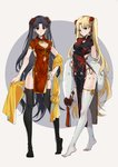 2girls alternate_costume bangs black_hair black_legwear blonde_hair character_name china_dress chinese_clothes cleavage_cutout dress earrings ereshkigal_(fate/grand_order) fate/grand_order fate_(series) full_body hair_ornament highres holding hoop_earrings infinity ishtar_(fate/grand_order) jewelry long_hair multiple_girls parted_bangs pelvic_curtain red_eyes side_slit smile standing thighhighs two_side_up white_legwear yaoshi_jun