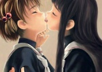 2girls bangs black_hair blunt_bangs brown_background brown_hair cardcaptor_sakura couple daidouji_tomoyo eyelashes face-to-face french_kiss from_side hair_bobbles hair_ornament hand_on_another's_arm kinomoto_sakura kiss long_hair multiple_girls neckerchief profile school_uniform short_hair simple_background tomoeda_elementary_school_uniform tongue tongue_out toshi_hiroshi turtleneck upper_body white_neckwear yuri