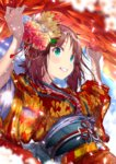 1girl amami_haruka brown_hair commentary_request eyebrows_visible_through_hair floral_print flower green_eyes hair_flower hair_ornament hands_up highres idolmaster idolmaster_(classic) japanese_clothes kimono light_particles obi red_kimono sash short_hair smile solo tassel teeth upper_body wide_sleeves yae_(mono110)