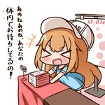 +++ 1girl :d >_< bangs blue_shirt blush book_stack character_name closed_eyes clothes_writing commentary_request eyebrows_visible_through_hair flat_cap hair_between_eyes hana_kazari hat hataraku_saibou light_brown_hair long_hair open_mouth platelet_(hataraku_saibou) price_tag shirt short_sleeves smile solo table translation_request very_long_hair white_background white_hat xd