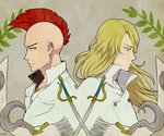 2boys artist_name back-to-back bald bazz-b bleach blonde_hair blue_eyes earrings green_eyes jewelry jugram_haschwalth leaf long_hair male_focus mohawk multiple_boys necklace red_hair ronisuke solo sword upper_body weapon