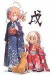 2girls ahoge alternate_costume animal aqua_eyes arrow beize_(garbage) blue_eyes blue_kimono blush bright_pupils chinese_zodiac commentary_request dog ema fang floral_print furisode hair_ornament hair_ribbon hamaya holding holding_arrow i-58_(kantai_collection) japanese_clothes kantai_collection kimi_kiss kimono multiple_girls new_year obi open_mouth red_eyes red_kimono ribbon ro-500_(kantai_collection) sandals sash simple_background socks squatting standing tabi tan white_background year_of_the_dog