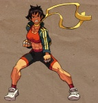 1girl abs alternate_costume bandages bike_shorts black_hair breasts brown_eyes clenched_hands jacket josef_axner makoto_(street_fighter) medium_breasts midriff muscle open_clothes open_jacket ribbon shirt shoes short_hair sneakers socks solo sports_bra street_fighter street_fighter_iii_(series) tank_top taut_clothes taut_shirt tomboy track_jacket