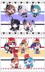 +_+ 6+girls :3 :d ;d absurdres animal animal_costume animal_print aqua_hair arm_warmers arms_up bag band_uniform bang_dream! bangs baseball_cap bear_costume black_bow black_dress black_eyes black_feathers black_flower black_footwear black_hair black_ribbon black_shorts blonde_hair blue_eyes blue_flower blue_hair blue_jacket blue_neckwear blue_ribbon blush boots bottle bow brooch brown_hair bunny bush cat cat_print character_print chibi clothes_writing clover croquette crossed_legs dress eating epaulettes feathers flower food four-leaf_clover frilled_skirt frills green_eyes green_ribbon grey_hair grey_hoodie group_name hair_between_eyes hair_bow hair_feathers hair_flower hair_ornament hair_ribbon half_updo hand_on_hip hand_to_own_mouth hat headphones hello_happy_world! highres hikawa_sayo holding holding_flower holding_food hood hood_down imai_lisa jacket jewelry kitazawa_hagumi knee_boots kongya lipstick_tube long_hair long_sleeves looking_at_viewer mascot_costume matsubara_kanon michelle_(bang_dream!) microphone_stand minato_yukina multiple_girls music neck_ribbon okusawa_misaki one_eye_closed one_side_up open_mouth orange_eyes orange_hair pants paper_bag perfume_bottle ponytail powder_puff purple_eyes purple_feathers purple_hair purple_neckwear red_eyes red_feathers red_footwear red_neckwear red_vest ribbon roselia_(bang_dream!) sash seta_kaoru shako_cap sheet_music shirokane_rinko short_hair shorts sidelocks sideways_hat singing sitting skirt smile softball sparkle standing star striped striped_background sweatdrop tsurumaki_kokoro twintails u_u udagawa_ako v-shaped_eyebrows vest white_feathers white_legwear white_neckwear white_pants white_skirt wrist_cuffs yellow_eyes