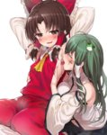 2girls armpit_licking armpits arms_up ascot benikurage blush breast_grab brown_eyes brown_hair closed_eyes cookie_(touhou) detached_sleeves facepaint frog_hair_ornament full-face_blush grabbing green_hair hair_ornament hair_ribbon hair_tubes hakurei_reimu hand_under_clothes highres japanese_clothes kochiya_sanae licking long_hair long_sleeves miko multiple_girls mutsutake navel nervous open_mouth paseri_(cookie) ribbon shirt short_hair simple_background skirt skirt_set smile snake_hair_ornament sweat sweatdrop tongue tongue_out touching touhou white_background wide_sleeves yuri