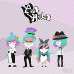 2boys 2girls absurdres artist_name blue_sclera boater_hat bow bowtie checkered checkered_background clownfish commentary facial_hair full_body goatee gradient_hair green_eyes hair_over_one_eye hands_in_pockets highres lineup logo looking_at_viewer multicolored_hair multiple_boys multiple_girls original purple_background sami_briggs sea_anemone splatoon sunglasses sweater