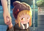 1girl blonde_hair bow drawfag fence fur_collar grin hat hat_bow holding_hands kise_sacchan mitsuboshi_colors night night_sky outdoors short_hair sidelocks sign sky smile smug solo_focus translation_request upper_body yellow_eyes