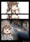 1girl ahoge brown_hair commentary_request cup detached_sleeves double_bun drink drinking galaxy hairband headgear highres ishii_hisao_(style) japanese_clothes kantai_collection kongou_(kantai_collection) long_hair misumi_(niku-kyu) nontraditional_miko open_mouth ribbon-trimmed_sleeves ribbon_trim space_cat_(meme) tea teacup what