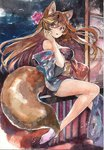 1044kiro 1girl absurdres acrylic_paint_(medium) animal_ears bare_legs brown_hair fox_ears fox_tail highres japanese_clothes kimono long_hair looking_at_viewer original pink_eyes sitting solo tabi tail traditional_media watercolor_(medium)