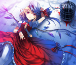 1girl adapted_costume alternate_costume birdcage blonde_hair blood bon cage chain colored_eyelashes dress flandre_scarlet hand_on_headwear hat lace lace-trimmed_thighhighs lying on_back on_floor red_eyes short_hair solo thighhighs tile_floor tiles touhou wings wrist_cuffs zettai_ryouiki
