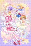 4girls angel_wings ankle_bow argyle argyle_background back_bow bishoujo_senshi_sailor_moon blonde_hair blue_sailor_collar blue_skirt bow brown_hair bubble_skirt cardcaptor_sakura choker circlet creamy_mami crescent double_bun dress earrings elbow_gloves expressionless frills gloves green_eyes hair_bow hair_intakes hair_ornament holding holding_wand hoshi_no_tsue inma jewelry kaname_madoka kinomoto_sakura kneehighs long_hair looking_at_viewer magical_girl mahou_no_tenshi_creamy_mami mahou_shoujo_madoka_magica mary_janes morisawa_yuu multicolored multicolored_background multiple_girls pantyhose pink_bow pink_hair pleated_skirt profile puffy_sleeves purple_eyes purple_hair red_bow red_footwear red_neckwear ribbon_choker sailor_collar sailor_moon sailor_senshi_uniform shoes short_hair skirt standing standing_on_one_leg star star_hair_ornament star_in_eye symbol_in_eye tsukino_usagi twintails wand white_dress white_gloves white_legwear white_skirt white_wings wings