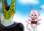 1boy 1girl :d ahoge android_21 animated bare_shoulders black_sclera black_sleeves cell_(dragon_ball) commentary detached_sleeves dragon_ball dragon_ball_fighterz drooling harem_pants heart koyukiyasu long_hair majin_android_21 midriff navel open_mouth pants pink_skin red_eyes smile strapless sweat sweating_profusely tail tail_wagging trembling tubetop ugoira uvula white_hair you_gonna_get_raped