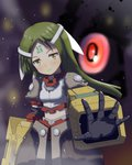1girl android arm_at_side arma_(recettear) armor black_gloves blurry blurry_background facial_mark forehead_mark gloves glowing glowing_eye green_hair hair_ribbon highres kurakuru light_smile long_hair looking_at_viewer midriff_peek navel outstretched_hand recettear red_eyes ribbon solo standing white_ribbon