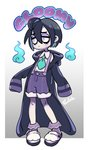 1boy artist_name black_hair blue_neckwear casual closed_mouth commentary english_commentary english_text freckles full_body gradient gradient_background grey_background hitodama hood hooded_jacket jacket lavender_eyes male_focus necktie no_mask onion_(pokemon) pale_skin pokemon pokemon_(game) pokemon_swsh purple_jacket rem_(artist) ringed_eyes shirt shoes shorts simple_background sleeves_past_wrists suspender_shorts suspenders what_if white_shirt