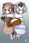 2girls artist_logo back-to-back blonde_hair brown_coat brown_eyes brown_hair coat commentary_request curry curry_rice eurasian_eagle_owl_(kemono_friends) eyebrows_visible_through_hair food fur_collar gloves gradient gradient_background grey_hair hair_between_eyes hand_on_own_head head_wings highres holding holding_plate holding_spoon kemono_friends long_sleeves looking_at_viewer mouth_hold multicolored_hair multiple_girls northern_white-faced_owl_(kemono_friends) orange_eyes plate rice shiba_itsuki short_hair spoon spoon_in_mouth tail_feathers white_gloves white_hair yellow_gloves