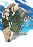 1girl animal animal_on_shoulder blue_sky bonnet brown_hair cat day dress drill_hair flying full_body green_dress green_eyes hat head_scarf heterochromia long_hair long_sleeves machinery morisoban neck_ribbon open_mouth outdoors red_eyes ribbon riding rozen_maiden sky smoke solo suiseiseki top_hat twin_drills very_long_hair white_legwear