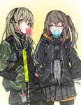 2girls artist_request bubble_blowing chewing_gum english_commentary eyebrows_visible_through_hair girls_frontline green_hair grey_hair hair_ribbon hands_in_pockets highres hood hooded_jacket jacket multiple_girls one_eye_closed pantyhose ribbon siblings side_ponytail sisters skirt strap ump40_(girls_frontline) ump45_(girls_frontline) yellow_eyes younger