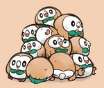 bird brown_background commentary_request fukurou_(owl222) gen_7_pokemon looking_at_viewer no_humans pile pokemon pokemon_(creature) rowlet simple_background