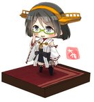 1girl :d artist_name bare_shoulders black_hair black_skirt blush detached_sleeves glasses green-framed_eyewear grey_eyes hairband headgear highres holding holding_microphone japanese_clothes kantai_collection kirishima_(kantai_collection) microphone nontraditional_miko open_mouth pleated_skirt ribbon-trimmed_sleeves ribbon_trim short_hair simple_background skirt smile solo taisa_(kari) v-shaped_eyebrows white_background wide_sleeves