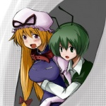 2girls antennae bad_id bad_pixiv_id blonde_hair blush collar green_eyes green_hair hameato long_hair multiple_girls purple_eyes saliva short_hair touhou wriggle_nightbug yakumo_yukari yuri