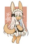 1other :3 alternate_costume alternate_hair_length alternate_hairstyle animal_ears artist_name black_bow blush bow enmaided eyebrows_visible_through_hair full_body green_eyes kawasemi27 long_hair made_in_abyss maid maid_headdress nanachi_(made_in_abyss) parted_lips smile tail twitter_username very_long_hair whiskers white_hair