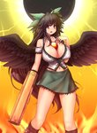 1girl :d arm_cannon bare_shoulders between_breasts black_hair black_sun black_wings bow breasts cleavage collarbone covered_nipples cowboy_shot feathered_wings green_skirt hair_bow hand_on_own_chest hater_(hatater) highres huge_breasts long_hair looking_at_viewer midriff miniskirt navel navel_piercing open_mouth piercing puffy_nipples red_eyes reiuji_utsuho skirt smile solo sun third_eye touhou very_long_hair weapon wings