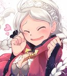 1girl blush closed_eyes elbow_gloves eponine_(fire_emblem_if) fire_emblem fire_emblem_heroes fire_emblem_if gloves highres nakabayashi_zun smile solo twintails white_hair