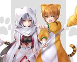 animal_costume animal_ears animal_hood bead_necklace beads black_hair blush breasts brown_eyes brown_hair cat_ears commentary_request fang fate/grand_order fate_(series) hair_between_eyes hane_yuki highres hood jaguarman_(fate/grand_order) jewelry leaning_forward long_hair looking_at_viewer medium_breasts midriff multicolored_hair nagao_kagetora_(fate) necklace open_mouth paw_print polearm scarf short_hair smile sparkling_eyes spear two-tone_hair very_long_hair weapon white_hair yellow_eyes