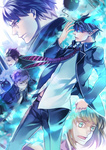 1girl 4boys ao_no_exorcist bad_id black_hair blazer blonde_hair blue_eyes blue_fire fire glasses kellked kuro_(ao_no_exorcist) mole moriyama_shiemi multiple_boys okumura_rin okumura_yukio pointy_ears school_uniform shima_renzou short_hair suguro_ryuuji