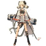 1girl :q arknights bangs black_footwear blonde_hair boots breasts canister choker cloak dress eyebrows_visible_through_hair fire flamethrower flat_chest full_body gas_tank gradient_hair grey_dress grey_hair gun hand_up holding holding_gun holding_weapon horns ifrit_(arknights) leg_strap looking_at_viewer low_twintails multicolored_hair official_art open_toe_shoes orange_eyes orange_nails parted_bangs sho_(sho_lwlw) short_dress sidelocks slit_pupils solo striped striped_dress tachi-e tail thigh_strap toeless_boots toenail_polish tongue tongue_out transparent_background twintails weapon white_cloak