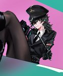 0zep0 1boy :q amamiya_ren black_hair black_legwear boots crossdressing elbow_gloves foreshortening gloves hat legs licking_lips long_hair male_focus necktie otoko_no_ko pantyhose persona persona_5 police police_hat police_uniform riding_crop skirt solo tongue tongue_out uniform