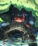 1girl animal black_hair blood blood_on_face borrowed_character bow_(bhp) commentary crocodile crocodilian giant_otter_(kemono_friends) kemono_friends looking_at_viewer mouth_hold original partially_submerged sharp_teeth short_hair solo teeth v-shaped_eyebrows water