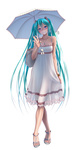 1girl aqua_eyes aqua_hair bag bare_shoulders collarbone crossed_legs dress feet full_body grin hatsune_miku head_tilt high_heels jewelry long_hair looking_at_viewer nail_polish necklace open_toe_shoes sandals shoes simple_background skirt_hold smile solo standing strappy_heels toenail_polish toes twintails umbrella very_long_hair vocaloid watson_cross white_background white_dress wokada