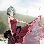1girl bangs bare_arms bare_shoulders bird breasts closed_mouth commentary_request copyright_request dress expressionless frilled_dress frills furrowed_eyebrows green_hair grey_eyes highres holding looking_at_viewer medium_breasts mountainous_horizon outdoors pink_frills red_dress sensei_(nicoseiga) short_hair solo spaghetti_strap spread_fingers