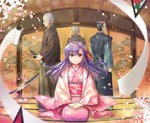 1girl 3boys >:) alle_gro bangs black_hair blush brown_hakama character_request closed_mouth commentary_request eyebrows_visible_through_hair facing_away fate/grand_order fate_(series) fisheye floral_print flower grey_hair hair_between_eyes hair_flower hair_ornament hair_ribbon hakama hands_on_lap indoors japanese_clothes katana kimono long_hair long_sleeves looking_at_viewer matou_sakura multiple_boys obi old_man parvati_(fate/grand_order) petals pink_flower pink_kimono print_kimono profile purple_eyes purple_hair red_ribbon ribbon sash seiza sheath sitting smile socks standing sword unsheathed v-shaped_eyebrows very_long_hair weapon white_legwear wide_sleeves yagyuu_munenori_(fate/grand_order)