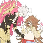 ... 1boy 1girl 88_(einnimnech) ahoge armor bandeau belly_grab blush bow breasts brown_eyes brown_hair cleavage collar commentary fate/apocrypha fate/grand_order fate_(series) ganesha_(fate) glasses hair_bow harem_pants highres jewelry jinako_carigiri karna_(fate) long_hair medium_breasts open_mouth pants plump ring short_hair spiked_collar spikes spoken_ellipsis spoon thumb_ring twitter_username very_long_hair white_hair