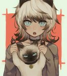 1girl :o animal_ears arms_up black_choker blue_eyes cat cat_ears chestnut_mouth choker grey_shirt highres holding holding_cat jewelry kirudai long_sleeves looking_at_viewer matching open_mouth original pendant shirt slit_pupils solo white_hair