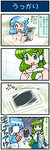2girls 4koma artist_self-insert bag bathing bathroom bathtub blue_hair closed_eyes collarbone comic commentary detached_sleeves frog_hair_ornament green_eyes green_hair hair_ornament highres kochiya_sanae long_sleeves mizuki_hitoshi multiple_girls naked_towel nude open_mouth real_life_insert shirt skirt smile snake_hair_ornament sweat tablet_pc tatara_kogasa tears touhou towel translated wide_sleeves